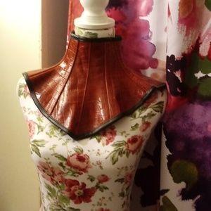 Red gator print goth neck corset